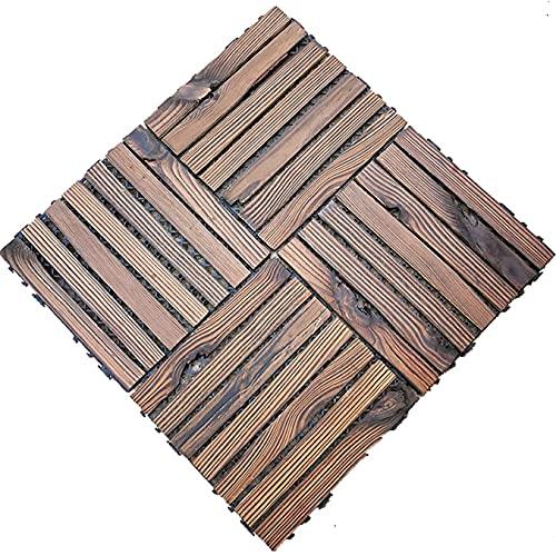 Baldosas de madera Terraza Baldosas 4 piezas de baldosas de madera entrelazadas, baldosas de madera, balcón al aire libre que se puede empalmar DIY, impermeable, antideslizante para terraza, patio, j