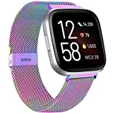 ZWGKKYGYH Compatible with Fitbit Versa/Versa Lite SE/Versa 2 Bands for Women Men, Stainless Steel Mesh Metal Band with Magnetic Lock Replacement for Fitbit Versa Smart Watch, Colorful Small