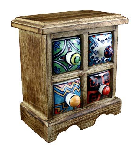 budawi® - Mini Kommode Holz und Keramik mit 4 Schubladen handbemalt, Gewürzschrank