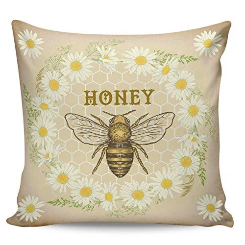 Funda De Cojín,Funda De Almohada Vintage Little Daisy Wreath Bee Sweet Honey Flower, Atractivas Fundas De Almohada para Regalos De Año Nuevo,45x45cm