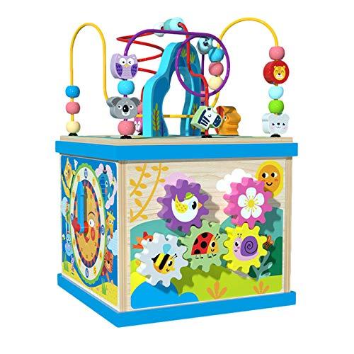 Cubo de actividades de madera, cubo de actividades para niños, juguete de madera con cuentas de laberinto en forma de laberinto