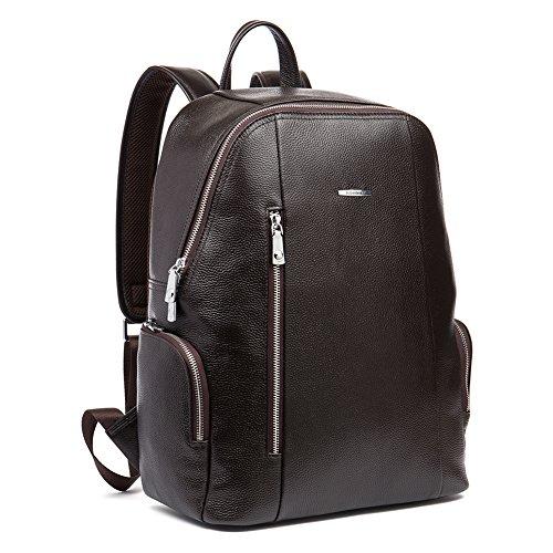 BOSTANTEN Vera Pelle Zaino Uomo Cuoio Borsa Computer Backpack Zaini Cartella Vaglietta Modo Casual con foro per le cuffie Grande