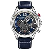 Stuhrling Original Mens Dress Watch - Aviator Watch with Leather Band Watches for Men with Date 24 Hour Subdial Chronograph Sports Watch (Blue)