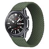 iBazal 22mm Galaxy Watch 3 45mm Armband Nylon Geflochtenes Solo Loop Band Ersatz für Samsung Galaxy Watch 46mm, Gear S3 Frontier Classic, Huawei Watch GT/GT 2 46mm Uhrenarmband Ersatzband - Grün(XS)