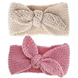 Turban Headband Baby Girl - Warm Rabbit Knot Hair Band, Knit Head Wrap for Newborn, Toddler and Children (Pink + Beige)