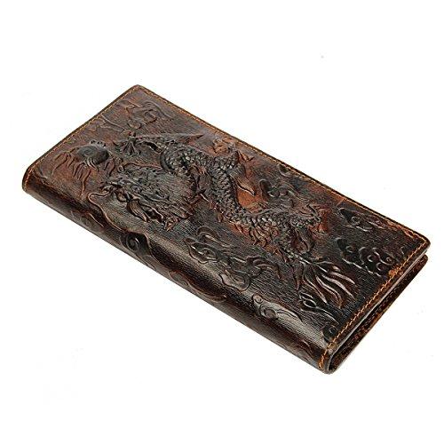OURBAG Männer Braun Drachen Lange Geldbörse Besonders Bequem Geldbeutel Kurze Portemonnaie aus Echtem Leder Lange