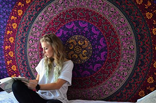 RAJRANG BRINGING RAJASTHAN TO YOU Psychedelische Tapisserie - Rosa und Blau - 229x274 cm - Tapisserien Große Wandbehang Mandalas - Bettlaken King Size Art Décor Tapestry