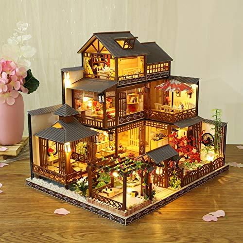 Kit De Casa De Muñecas DIY, Cabaña De Madera En Miniatura Ensamblada Casa Hecha A Mano con Movimiento Musical Villa Grande para Niñas Cumpleaños De Navidad Regalo De San Valentín