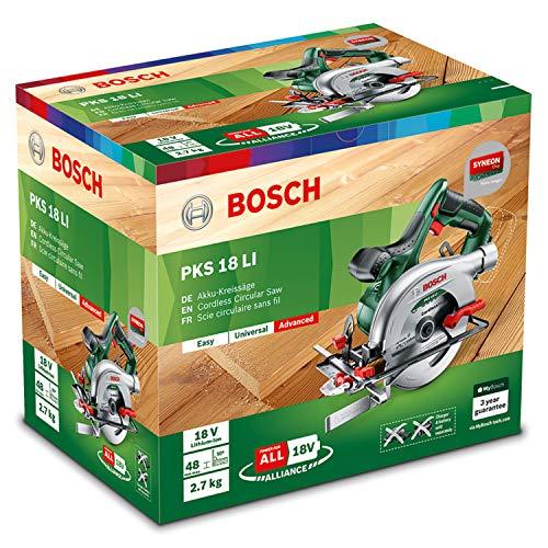 Bosch 18V Akku Kreissäge PKS 18 LI ohne Akku, Sägeblatt, Parallelanschlag, Karton (18 Volt System) - 6