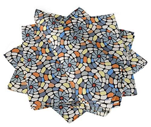 S4Sassy Negro Piedra Colorida Mosaico servilleta de algodón Impresa Todos los días Ropa de Mesa Lavable básica 18 x 18(Paquete de 6)