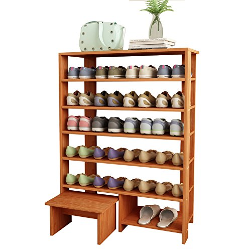 Jerry & Maggie - 6 Tier Wood MDF Solid Shelf Shoe Rack with...