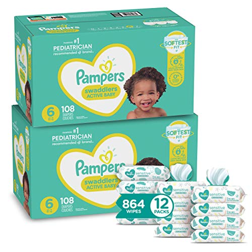 Pampers Swaddlers Disposable Baby Diapers Size 6, 2 Month Supply (2 x 108 Count) with Sensitive Water Based Baby Wipes, 12X Pop-Top Packs (864 Count)