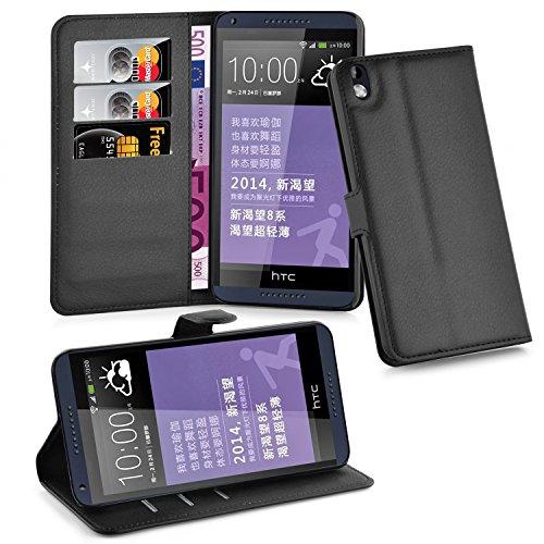 Cadorabo Hülle für HTC Desire 816 - Hülle in Phantom SCHWARZ – Handyhülle mit Kartenfach & Standfunktion - Case Cover Schutzhülle Etui Tasche Book Klapp Style