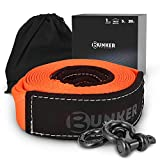 BUNKER INDUST Recovery Towing Strap Kit, 3' x 20ft Heavy Duty 30,000 lbs Vehicle Tow Rope with Storage Bag and 2pcs D Ring Shackles-Emergency Off Road Truck Accessories Towing Winch Snatch Strap