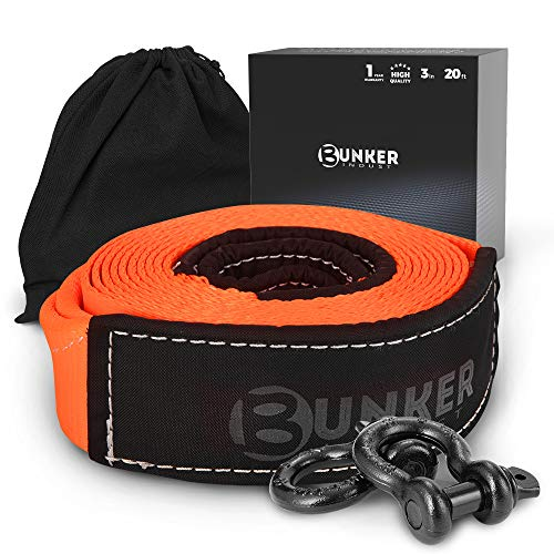 """BUNKER INDUST Recovery Towing Strap Kit, 3"""" x 20ft Heavy Duty 30,000 lbs Vehicle Tow Rope with Storage Bag and 2pcs D Ring Shackles-Emergency Off Road Truck Accessories Towing Winch Snatch Strap"""