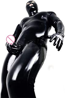 LNNII - Sexy Men and Women Wet DS Look Catsuit Clothing Adult Tight Faux Leather Leotard Prisoner Cosplay Costume Gloves Mask Leotard