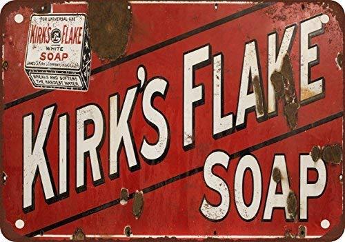 SIGNCHAT Kirk del Flake kleur Blanco Jabón, metalen blik teken 8X12 inch