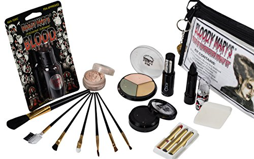 Bride Of Frankenstein Special Effects Makeup Kit - By Bloody Mary - Professional Halloween Monster SFX Makeup - Includes Lipstick, Foundation, Setting Powder, 3 Crayons, 4 Brushes, Eye Shadow & Sponge