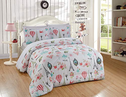 Better Home Style Pink White Blue Green Floral Paris Eiffel Tower Bonjour Flowers Design 7 Piece Comforter Bedding Set Bed in a Bag with Complete Sheet Set # Paris Balloon (Full)