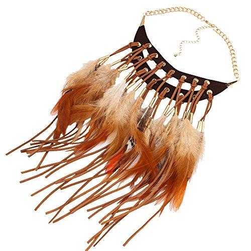 Claire Jin Leder böhmische Halsketten für Frauen ethnischen Schmuck Feder Halskette (Kaffee)