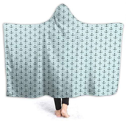 JISMUCI Tragbare Hoodie Decke,Anker Zickzack Maritime Punkte drucken,Umhang Druck Grafik warm für den Winter 80 * 60