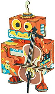 ROBOTIME 3D Puzzle DIY Wooden Music Box Toy - Robot Model Kits to Build - Movable DIY Puzzle Kits Perfect Birthday for Women and Girls Age 14+(Little Performer)
