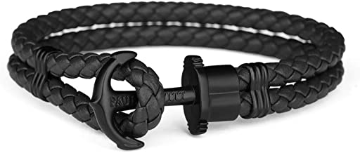 PAUL HEWITT Anchor Bracelet for Men PHREP - Anchor Men's Bracelet Leather (Black), Sailcloth Bracelets for Men with Anchor Jewelry Made of Stainless Steel (Ion-Plated Black)