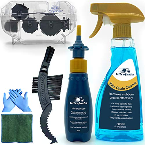 Ultrafashs Bike Chain Oil and Cleaner Set with Bicycle Degreaser Biodegradable,Wet Lubricant,Chain Scrubber Cleaning Brush Tool.Bike Lube-2oz,Degreaser-10oz.Bottle