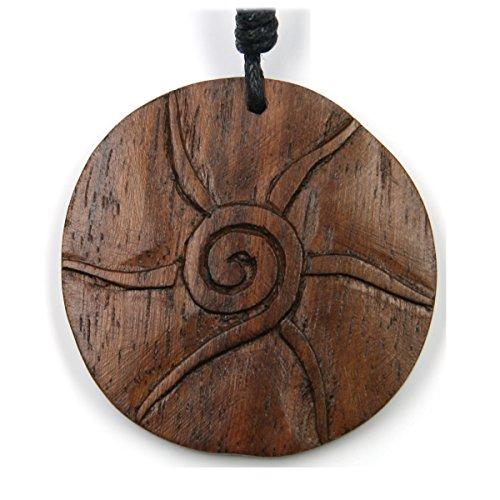 Sonne Symbol Schmuck aus Holz, Kettenanhänger zeitlos natürlich Durchmesser 4cm, inkl Textilband