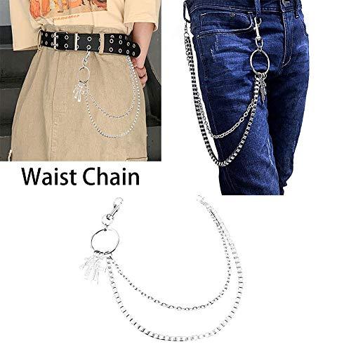 Farmer-W broekketting, 2 lagen, sleutelhanger lange hip hop punk broek, kruisband, ketting, portemonnee, riem, jeanbroek, sleutelhanger voor mannen en vrouwen