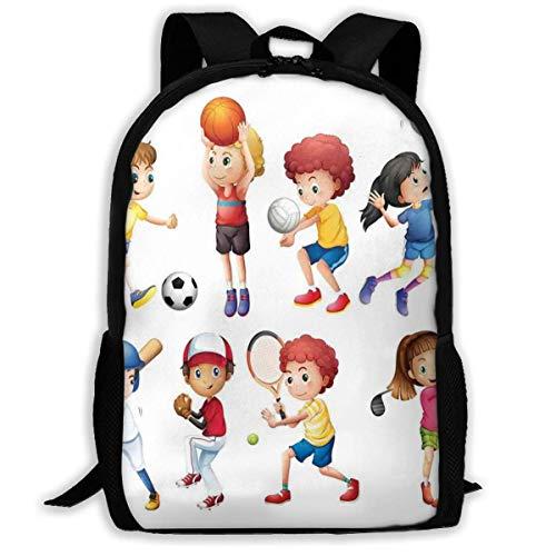 Travel Backpacks,Adult Rucksack,Carry Everyday Bookbag,Laptop Computer Bag,Children Playing Soccer Baseball Basketball Volleyball Golf Tennis Hobby Theme Women & Men Durable Casual Daypack for Schoo