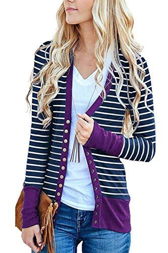 Marysay Women's Striped Knitwears Button Down Knit Cardigans Purple S