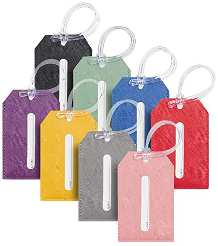 Toughergun Faux Leather Luggage Tags (Ace Multi Color 8 Pcs Set)