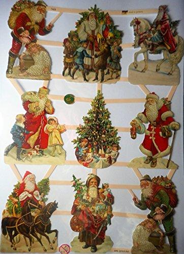 Glanzbilder Weihnachten Weihnachtsmann Baum EF 7403 Oblate Posiebilder Scrapbook Deko GWI 442