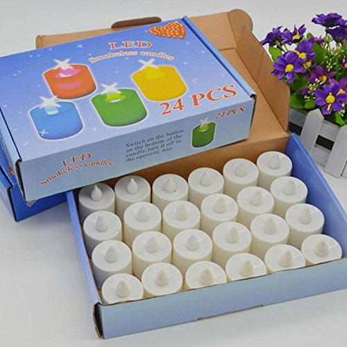 DAYAN Bougies à LED Candle Lights Lampe Lot de 24 Lumières de Thé à Piles sans flammes,à LED Coloré Blanc(sans piles)
