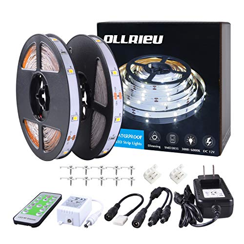 ollrieu LED Strip Lights 50ft Dimmable Tape Light Bright White Connectable Cuttable 450 Units 2835 SMD with 12V Power Plug in RF Remote Flexible Indoor Rope Lighting for Bedroom Cabinet Kitchen Mirror