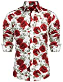 COOFANDY Men's Flower Shirt Floral Print Casual Cotton Button Down Dress Shirt