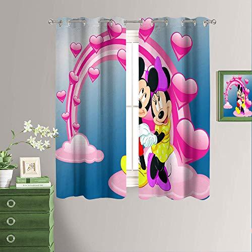 Mickey y Minnie - Cortinas opacas para dormitorio, cortinas con aislamiento térmico, cortinas de reducción de calor y frío para cocina (182 x 201 cm)