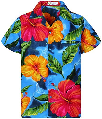 V.H.O. Funky - Camicia hawaiana da uomo, a maniche corte, tasca frontale, stampa hawaiana, fiori grandi, foglie estive, spiaggia Big Flower Azzurro XXXXL