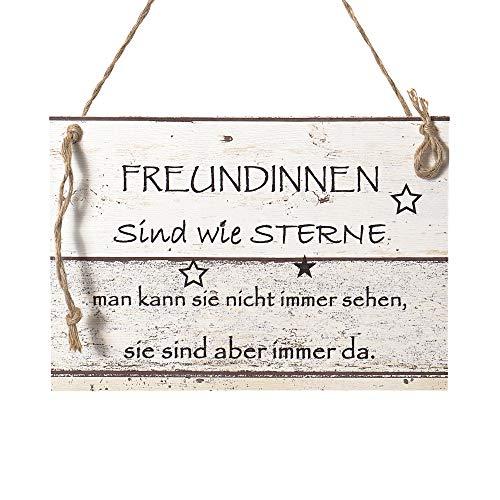 Wand Deko Holzschild mit Spruch im Shabby Chic Vintage Stil (20x29x0,5cm) Freundinnen - die Geschenkidee für ihre Beste Freundin