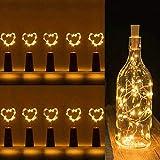 Luces para botellas de vino, 10 paquetes con pilas, forma de corcho, forma de corcho, plata, alambre de cobre, colorido hada, mini luces de cuerda para bricolaje, fiesta, decoración, navidad,...