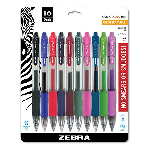 Zebra 46881 Sarasa Retractable Gel Ink Pens, Medium Point 0.7mm, Assorted Color Rapid Dry Ink, 10-Count