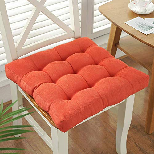 DIELUNY Cojín de asiento cuadrado para interiores y exteriores, color sólido, cojines de silla japonesa, transpirable, alfombrillas de pana superrellenas, color naranja, 45 x 45 cm