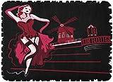 Yuanmeiju Felpudos Bath Rugs Door Estera Dancer French Abstract Woman in Cabaret Moulin Rouge Paris Show Vintage 15.8'x23.6'