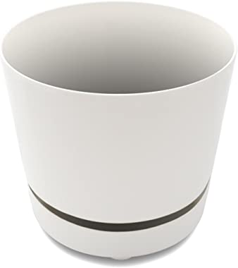 "Unique 10"" Self-Watering, Aerating, High Drainage Plant Pot with Deep Saucer (10 Inch, White)"