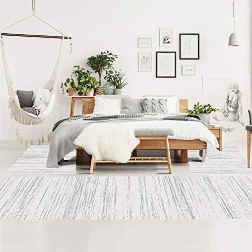 Bettumrandung Schlafzimmer - Hochflor Teppich-Läufer 70x140cm/ 70x230cm in Creme - Teppiche Meliert