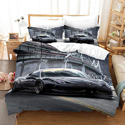 WFBZ Bedding bettwäsche-Set, Coolem Sportwagen, Bettbezug, Kopfkissenbezug 50 x 75 cm, Rennwagen Auto Bettbezug Set für Jungen Mädchen Atmungsaktiv Microfaser Betten Set (07,135 x 200 cm)