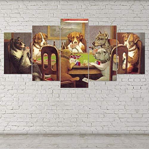 Cuadro En Lienzo 5 Piezas XXL Decoracion De Pared Diseño Perros Jugando Al Póquer De 5 Piezas Material Tejido No Tejido Impresión Artística Gráfica Decoracion De Pared
