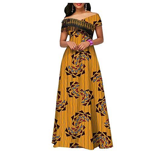 Privado Personalizado Africano Vestidos Largos para las Mujeres Ankara Imprimir Fiesta Boda Piso Longitud de las Mujeres Casual Vestido de Algodón Partido Borla
