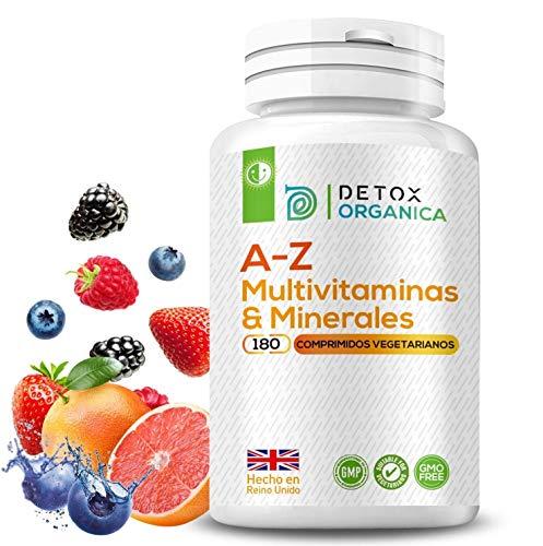 A-Z Multvitaminas y Minerales Formula – 180 Cápsulas de 27 Minerales y Multivitaminas Hombre & Mujer – Para 6 Meses – Apto Para Vegetarianos – Hecho en Reino Unido Por Detox Organica